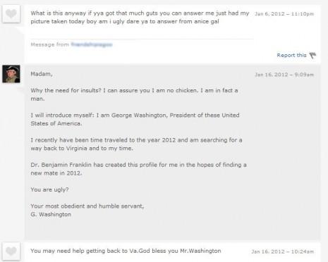 George Washington's First OkCupid Response