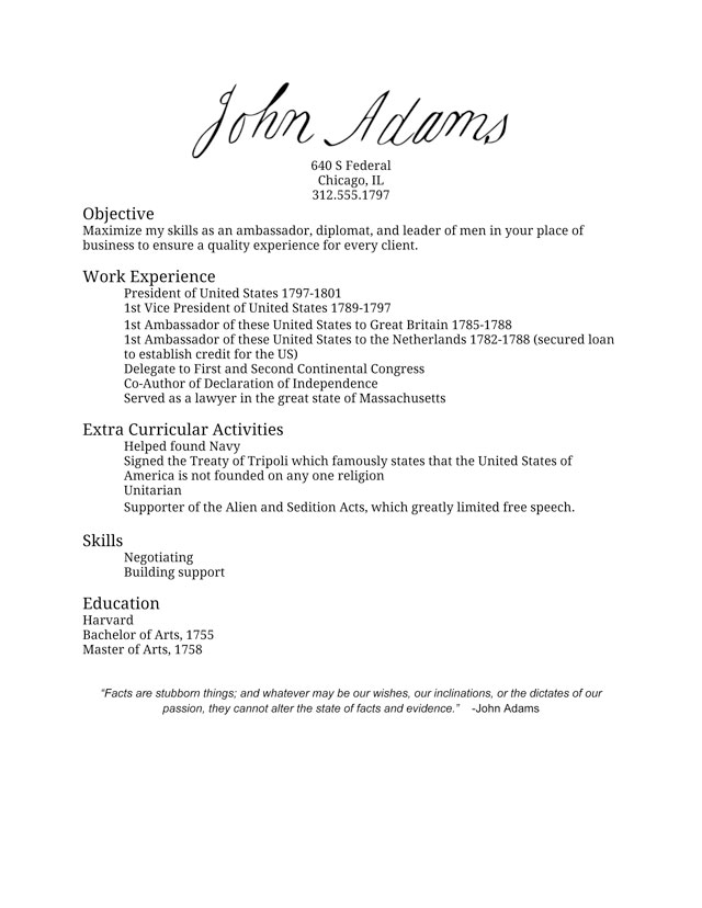 John Adams\' Resume - I Made America
